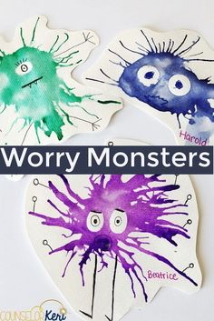 Help your students in worry group personify their worries by making a worry monster with watercolors and a deep breathing exercise! Students will learn two helpful strategies to manage worries in small group counseling or individual counseling. by julie Group Counseling, Counseling Activities, Art Therapy Activities, Anxiety Activities, Monster Activities, Social Emotional Activities, Feelings Activities, School Age Activities, Childcare Activities