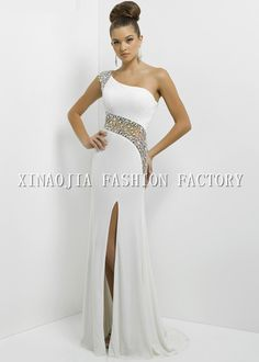 Aliexpress.com   Buy Free Shipping 2014 Backless Formal Evening Dresses Sexy  One Shoulder Crystals Rhinestones Sheer Side Split Long Prom Gowns from ... 5c11e3bebded