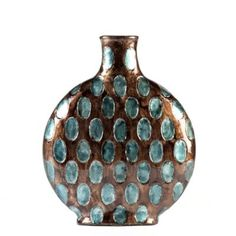 "Vase measures 9""Lx5.2""Wx11""H Crafted of ceramic Glazed in aqua blue and dark taupe For decorative use only"