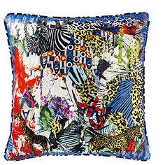 glam'azonia citrus - digitally printed silk collage throw pillow