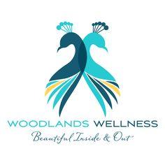 Woodlands Wellness teal peacock logo design by www.testmonki.com