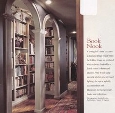 Turn a boring entry closet into a mini library Mini Library, Dream Library, Coffee Table Next, Entry Closet, Sweet Home Alabama, Folding Doors, Under Stairs, Large Homes, Reading Room