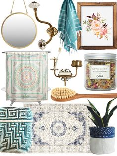 Shop H&M Round Wall Mirror $24.99, Large Watermelon Glass Double Hook, Hand Face Towel Peskir Cotton Turkish Kitchen Bathroom AQUA, Watercolor Floral Printable Instant Download, Catbird Bath Soak, Iris Hantverk Bath Brush, Boho Plant Holder