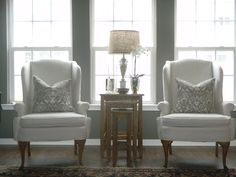 white linen wingback chairs