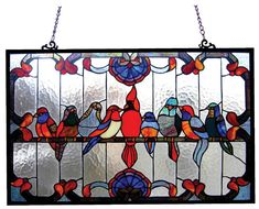 Shop for Chloe Tiffany Style Gathering Birds Art Glass Window Panel. Get free delivery at Overstock - Your Online Home Decor Outlet Store! Get in rewards with Club O! Tiffany Stained Glass, Stained Glass Birds, Stained Glass Panels, Stained Glass Projects, Stained Glass Patterns, Tiffany Glass, Leaded Glass, Mosaic Projects, Fused Glass