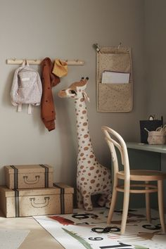 Safari Bedroom, Wall Hanging Storage, Cardboard Storage, Giraffe Toy, Hm Home, Wooden Hangers, Wall Organization, Baby Boy Rooms, Kid Spaces