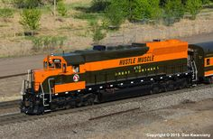 """GN #400 - the famous EMD SD45 """"Hustle Muscle"""" - leaves St. Paul, MN for Osceola. 05-09-2015. Photo by Dan Kwarciany."""