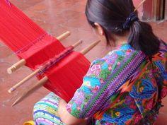 Weaving demonstration on a backstrap loom.  The weavings are beautiful!!