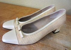 Women's 7 B Salvatore Ferragamo Cream Patent Leather Captoe Shoes Woven Body Bow in Clothing, Shoes & Accessories | eBay