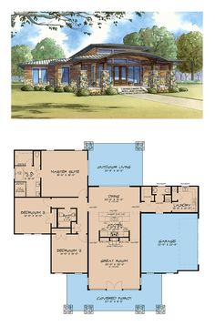Prairie House Plan 82413 | Total Living Area: 2272 sq. ft., 3 bedrooms and 2.5 bathrooms. #prairiehome