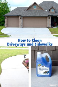 How to Clean Driveways and Sidewalks! Easiest way to clean driveways and sidewalks is to use Zep and Pressure washing. The results are amazing! Pressure Washing services in Kansas City Deep Cleaning Tips, House Cleaning Tips, Cleaning Solutions, Spring Cleaning, Cleaning Hacks, Cleaning Lists, Roof Cleaning, Cleaning Services, Cleaning Supplies