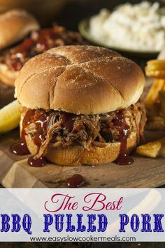 Buy Barbeque Pulled Pork Sandwich by on PhotoDune. Barbeque Pulled Pork Sandwich with BBQ Sauce and Fries Slow Cooker Bbq, Slow Cooker Recipes, Crockpot Recipes, Cooking Recipes, Pulled Pork Recipe Slow Cooker, Barbeque Pulled Pork, Crockpot Barbeque Pork, Bbq Beef, Table D Hote