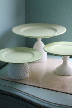 Cake Stands in Pastel Green Icy Mint Green / Dessert Pedestals for your Wedding Dessert Buffet or Candy Bar. $100.00, via Etsy.