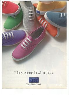 1992 Advertisement Ked's Shoes Runners Sneakers Trainers Colorful Pink  Purple Green Blue White 90s Footwear Style