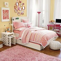 Girls Bedroom: Fantastic Girl Bedroom Design And Decoration Using Stripping In Girl Room Wall Decor Including Large Pink Paper Lantern Ball Girl Room Pendant Lamp And White Wood King Shelf Girl Bed Frame, teen girl room ideas, decor ideas for girls room ~ Preteen Girls Rooms, Teenage Girl Bedrooms, Big Girl Rooms, Girls Bedroom, Tween Girls, Teen Room Decor, Bedroom Decor, Bedroom Curtains, Bar Lounge
