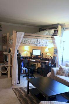 61 Ideas Bedroom Loft Bed Curtains For 2019 Loft Bed Plans, Loft Bed Curtains, Bedroom Diy, Double Loft Beds, Beds For Small Spaces, Small Room Bedroom, Guest Room Decor, Small Bedroom Remodel, Remodel Bedroom