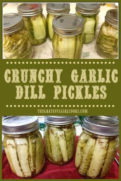 Crunchy Garlic Dill Pickles / The Grateful Girl Cooks! Canning Dill Pickles, Garlic Pickles, Kosher Dill Pickles, Home Canning Recipes, Canning Tips, Rhubarb Canning Recipes, Canning Labels, Dinner Recipes, Canning Food Preservation