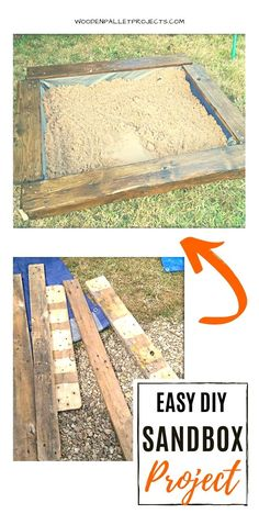 Learn how to make a easy DIY sandbox project. This tutorial will show you how to build one step by step. Cute idea for kids from repurposed pallets that is great for warm, sunny days in the garden. Pallet Sandbox, Build A Sandbox, Pallet Decking, Wooden Projects, Diy Pallet Projects, Projects For Kids, Wood Crafts, Make Tutorial, Diy Step By Step