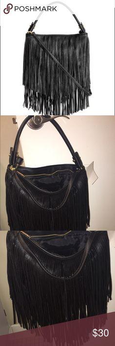 TODAYS DEAL Fringe shoulder bag Black fringe bag with shoulder strap. Can be worn with or without should strap, (It is detachable). Brand new never used H&M Bags Shoulder Bags