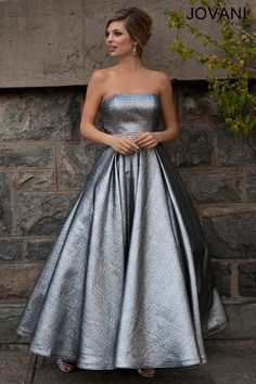 Jovani Tea Length Dress 24582. metallic tea length prom dress!