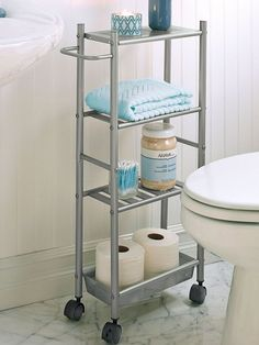 Slim Metal Cart on wheels rolls with ease. Ideal for a small bathroom to store tissue and toiletries, or in the laundry room, pantry, home office