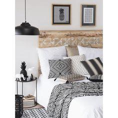 Housse de coussin en coton blanche/noire 40 x 40 cm FIGUEIRA