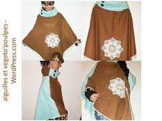 Bettinael.Passion.Couture.Made in france: DIY: Cape/ Poncho, tutoriel couture gratuit Clothing Patterns, Sewing Patterns, Cape Pattern, Kimono Top, Cover Up, Two Piece Skirt Set, Neurone, Skirts, Fabric