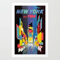 New York — Fly TWA. New York's Times Square is depicted in this stunning poster for Trans World Airlines. Illustrated by David Klein, New in Vintage Travel Posters. (via New York Times Square - Fly TWA – Vintagraph) Vintage Travel Posters, Vintage Ads, Vintage Style, Retro Style, Retro Airline, Vintage Airline, Airline Travel, Georges Mathieu, Louise Fili