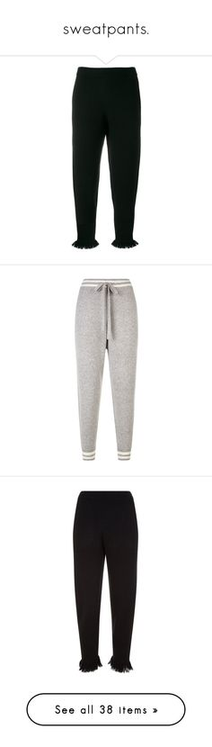 """sweatpants."" by takenforfashion ❤ liked on Polyvore featuring pants, black, peplum pants, striped pants, white striped pants, white pants, white stripe pants, white trousers, activewear and activewear pants"