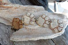 dog paw jewelry kitty paw bracelet etched by RescuedAngelsStudio