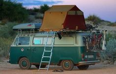 No poptop on your VW van, that is easy to fix just Tent Topped it. Here is a nice vintage example