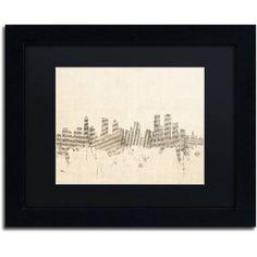 Trademark Fine Art Denver Skyline Sheet Music Canvas Art by Michael Tompsett Black Matte, Black Frame, Size: 11 x 14