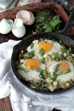A recipe that is creamy and indulgent. Rich and flavorful. Creamy Swiss Chard and Eggs pairs perfectly with fresh toast, yummy biscuits or fresh fruit.
