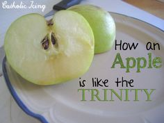 I saw the cutest idea about how to explain the Trinity to kids using an apple! There's even a whole Apple Trinity children's book! Here's how an apple is like the Trinity: The pe… Catholic Kids, Catholic School, Kids Church, Catholic Crafts, Catholic Icing, Church Ideas, Sunday School Lessons, Sunday School Crafts, Lessons For Kids