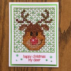 Cross Stitch Christmas Card. Fuzzy Reindeer. I used the Paper Smooches Square die and ran it through the die cutter 2 times to obtain 22x24 square count. The sentiment is from SSS Winter Friends. I used PPP Emerald Jewels. I have attached my pattern. I have to give a shout out to @debbie.doud for her background stitches. This one is my favorite one because it takes so little time and lets the centerpiece of the card standout. @debbie.doud, I hope you will do a tutorial sometime on all of…