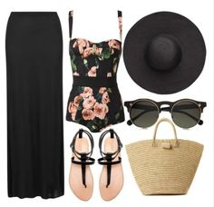 Swimsuit #summer #maxi #skirt #floral #hat #beach
