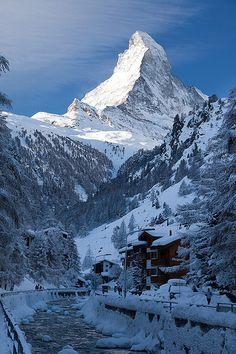 Matterhorn in the Swiss Alps. View from Zermatt, Switzerland.