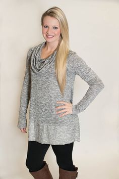 Knit Cowl Neck Top - Gray