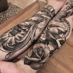 Beautiful forearm tattoos made by Lil B. (via: @lilbtattoo) blackandgrey rose statue lighthouse lilb