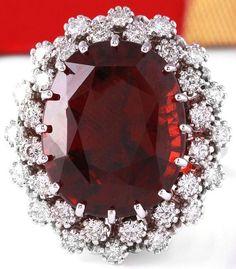 ESTATE 20.31CTW NATURAL HESSONITE GARNET AND DIAMOND RING IN 14K WHITE GOLD