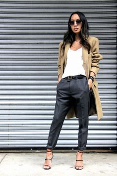 Career-Girl Daily-Blog-Fall-Office-Style-Work-Look-Camel-Coat-Sunglasses-V-Neck-White-Tee-Leather-Belt-Grey-Pants-Buckled-Strap-Heels-Via-Linh-Niller