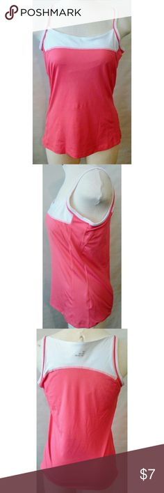 BCG Pink & White Workout Tennis Tank size M Really cute workout/tennis tank top from BCG in pink and white with spaghetti straps. Built in shelf bra. Size Medium. BCG  Tops Tank Tops