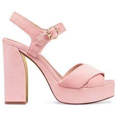 Tory Burch Loretta Velvet Platform Sandals ($398) ❤ liked on Polyvore featuring shoes, sandals, ballet pink, ankle strap sandals, pink platform shoes, ankle wrap sandals, pink shoes and velvet platform shoes