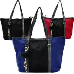 Women's Faux Fur PU Leather Messenger Tote Handbag Shoulder Bag