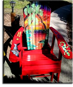 Adirondack Chair Red Tropical Hand Painted Air Brushed Tiki Bar Chair Wooden