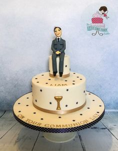 Navy and Gold Communion Cake - Cake by Little Cake Fairy Dublin Holy Communion Cakes, First Communion, Little Cakes, Christianity, Birthday Cake, Navy, Confirmation, Dublin, Desserts