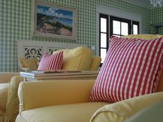 Yellow and red...I think I may need a gingham chair in my life somewhere.
