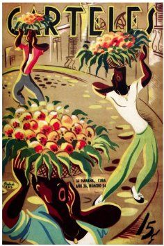 "Amazon.com: 11""x 14"" Poster. ""Carteles Magazine cover"" Fruit street vendors Poster. Decor with Unusual images. Great Cuban Room art"