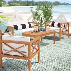 Beachcrest Home Delray 4 Piece Sofa Seating Group with Cushions Frame Color/Cushion Color/Pillow Color: Teak/Beige/Black Outdoor Sofa Sets, Outdoor Furniture Sets, Outdoor Decor, Outdoor Living, Farmhouse Outdoor Furniture, Furniture Ideas, Affordable Outdoor Furniture, Street Furniture, Outdoor Stuff