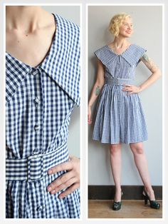 Vintage Dress // Gingham Day Dress // vintage by dethrosevintage